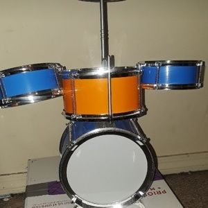 Orange blue and white mini drum set